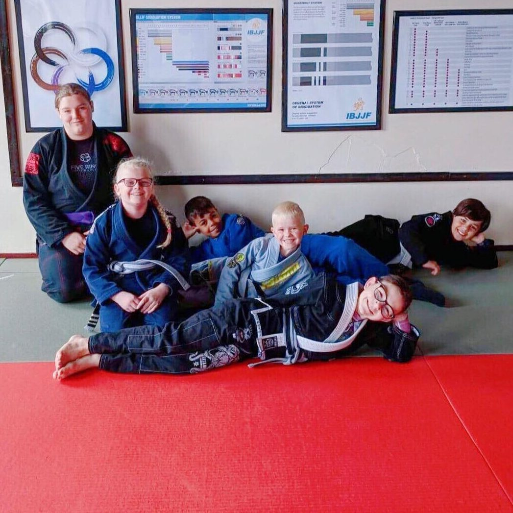 5 rings mansfield bjj Kids team chilling out after a competition session