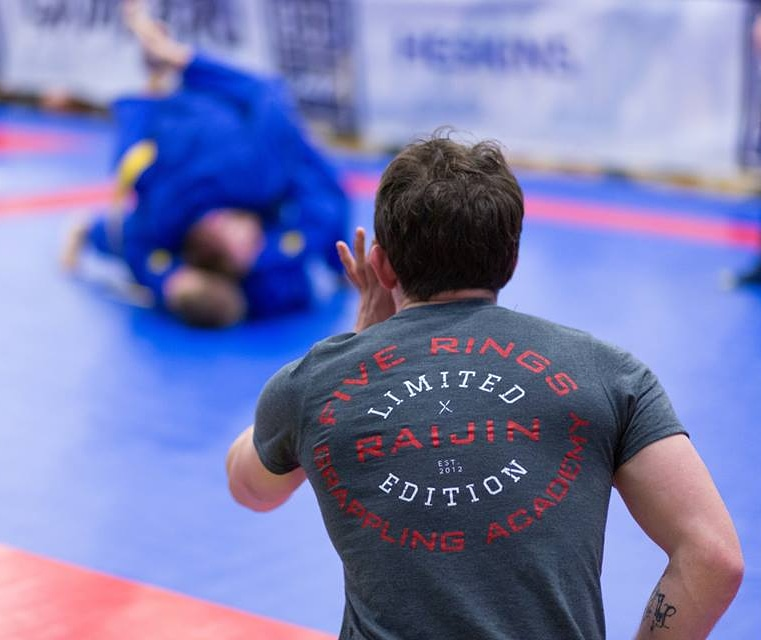 BJJ Sheffield Coach Paul Cole from Five Rings Supporting the Team from the Competition Sidelines